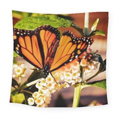 Monarch Butterfly Nature Orange Square Tapestry (large)