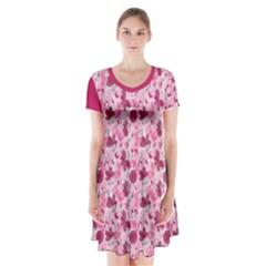 Pink Dreams Doodles Short Sleeve V-neck Flare Dress