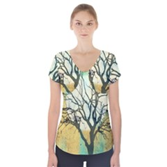 A Glowing Night Short Sleeve Front Detail Top