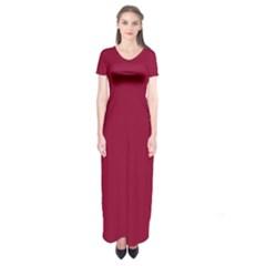 Deep red Short Sleeve Maxi Dress