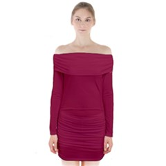 Deep red Long Sleeve Off Shoulder Dress