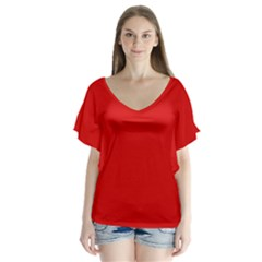 Just red Flutter Sleeve Top
