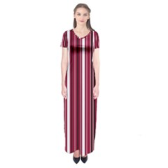 Red lines Short Sleeve Maxi Dress