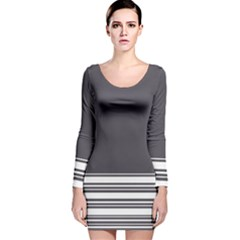Gray Long Sleeve Velvet Bodycon Dress