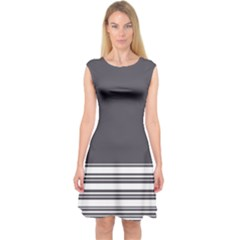 Gray Capsleeve Midi Dress
