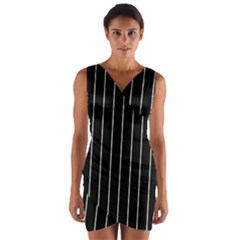 Black and white lines Wrap Front Bodycon Dress