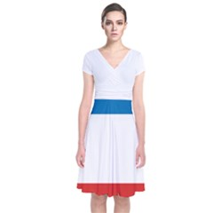Flag of Crimea Short Sleeve Front Wrap Dress