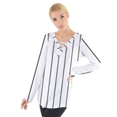 White and black lines Women s Tie Up Tee