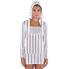 White and black lines Women s Long Sleeve Hooded T-shirt