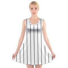 White and black lines V-Neck Sleeveless Skater Dress