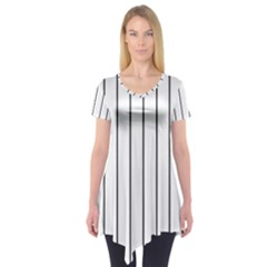 White and black lines Short Sleeve Tunic