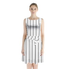 White and black lines Sleeveless Chiffon Waist Tie Dress