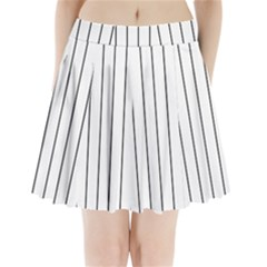 White and black lines Pleated Mini Skirt