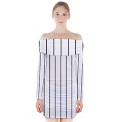 White and black lines Long Sleeve Off Shoulder Dress