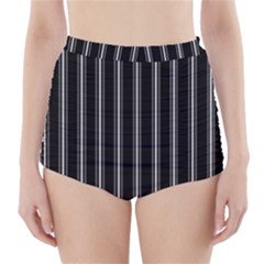 Black and white lines High-Waisted Bikini Bottoms