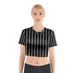 Black and white lines Cotton Crop Top