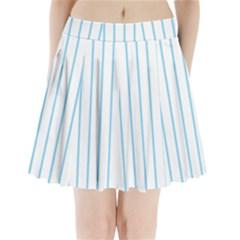 Blue lines Pleated Mini Skirt