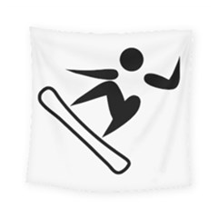 Snowboarding Pictogram  Square Tapestry (small)