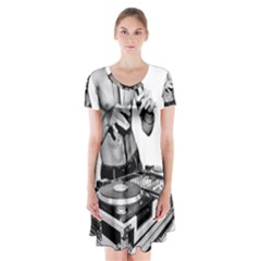 Bruce Lee Dj Short Sleeve V-neck Flare Dress