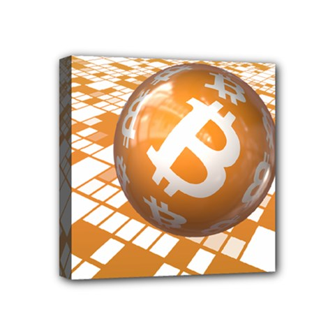 Network Bitcoin Currency Connection Mini Canvas 4  x 4