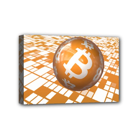 Network Bitcoin Currency Connection Mini Canvas 6  X 4