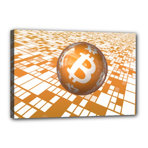 Network Bitcoin Currency Connection Canvas 18  X 12
