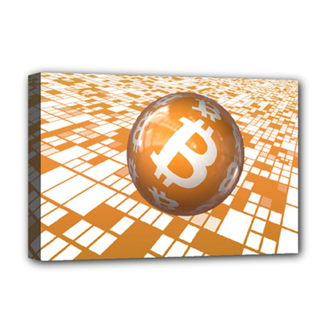 Network Bitcoin Currency Connection Deluxe Canvas 18  X 12