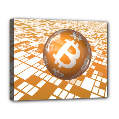 Network Bitcoin Currency Connection Deluxe Canvas 20  x 16