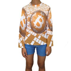 Network Bitcoin Currency Connection Kids  Long Sleeve Swimwear