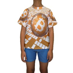 Network Bitcoin Currency Connection Kids  Short Sleeve Swimwear