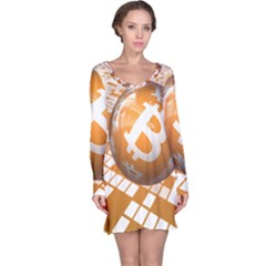 Network Bitcoin Currency Connection Long Sleeve Nightdress