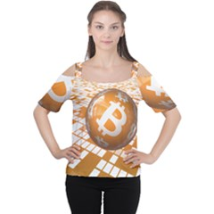 Network Bitcoin Currency Connection Women s Cutout Shoulder Tee