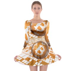 Network Bitcoin Currency Connection Long Sleeve Skater Dress