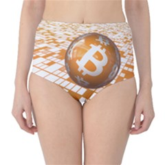 Network Bitcoin Currency Connection High Waist Bikini Bottoms