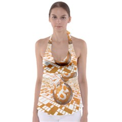 Network Bitcoin Currency Connection Babydoll Tankini Top