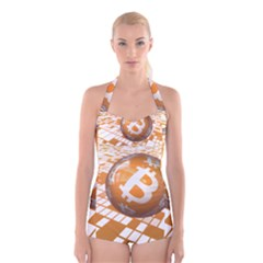 Network Bitcoin Currency Connection Boyleg Halter Swimsuit
