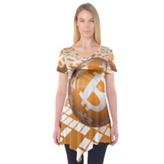 Network Bitcoin Currency Connection Short Sleeve Tunic