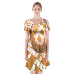 Network Bitcoin Currency Connection Short Sleeve V Neck Flare Dress