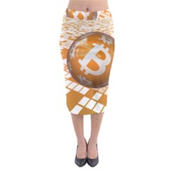 Network Bitcoin Currency Connection Midi Pencil Skirt