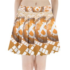 Network Bitcoin Currency Connection Pleated Mini Skirt