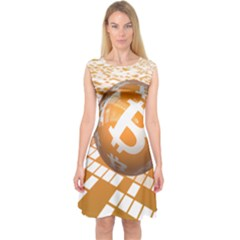 Network Bitcoin Currency Connection Capsleeve Midi Dress