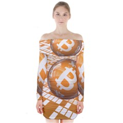 Network Bitcoin Currency Connection Long Sleeve Off Shoulder Dress