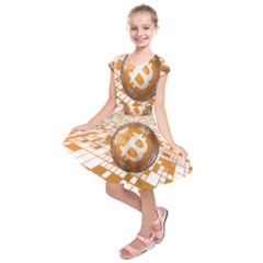 Network Bitcoin Currency Connection Kids  Short Sleeve Dress