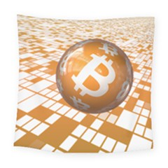 Network Bitcoin Currency Connection Square Tapestry (large)