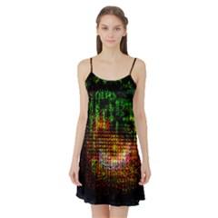 Radar Kaleidoscope Pattern Satin Night Slip