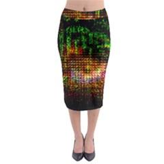 Radar Kaleidoscope Pattern Midi Pencil Skirt