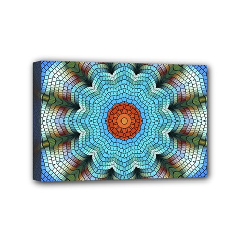 Pattern Blue Brown Background Mini Canvas 6  X 4