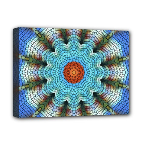 Pattern Blue Brown Background Deluxe Canvas 16  X 12