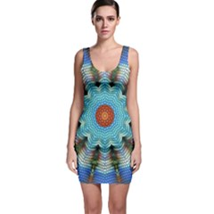 Pattern Blue Brown Background Sleeveless Bodycon Dress
