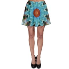 Pattern Blue Brown Background Skater Skirt